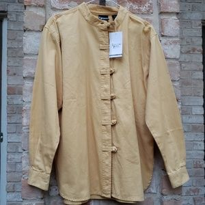 NWT Crossing Pointe yellow knot toggle shirt M